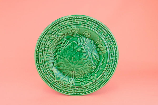 Majolica Dessert Plate Leaf Design, English 19th Century