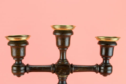 2 Barley Twist Oak Candelabras, English 1880s