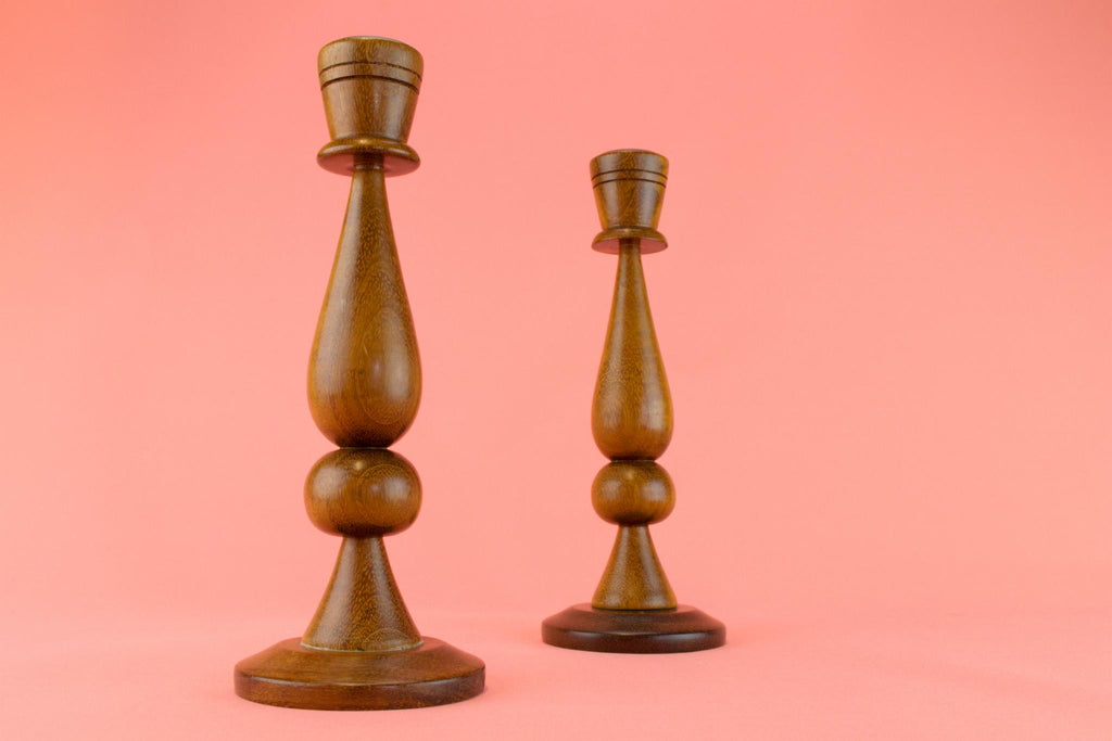 Polished Oak Candlesticks, English 1950s