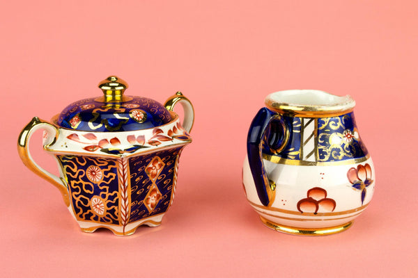 Sugar Bowl and Milk Set by Sadler, English Circa 1950