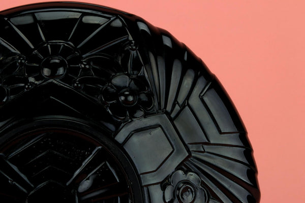 Art Deco Bowl in Black Glass, English 1930s
