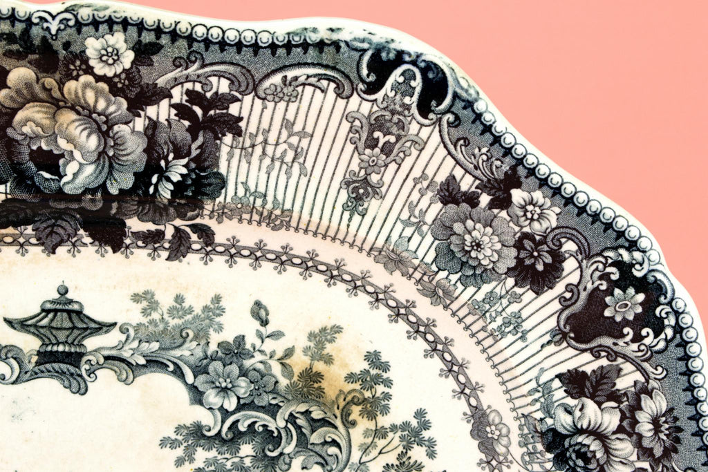 Black and White Serving Platter, English 1830s