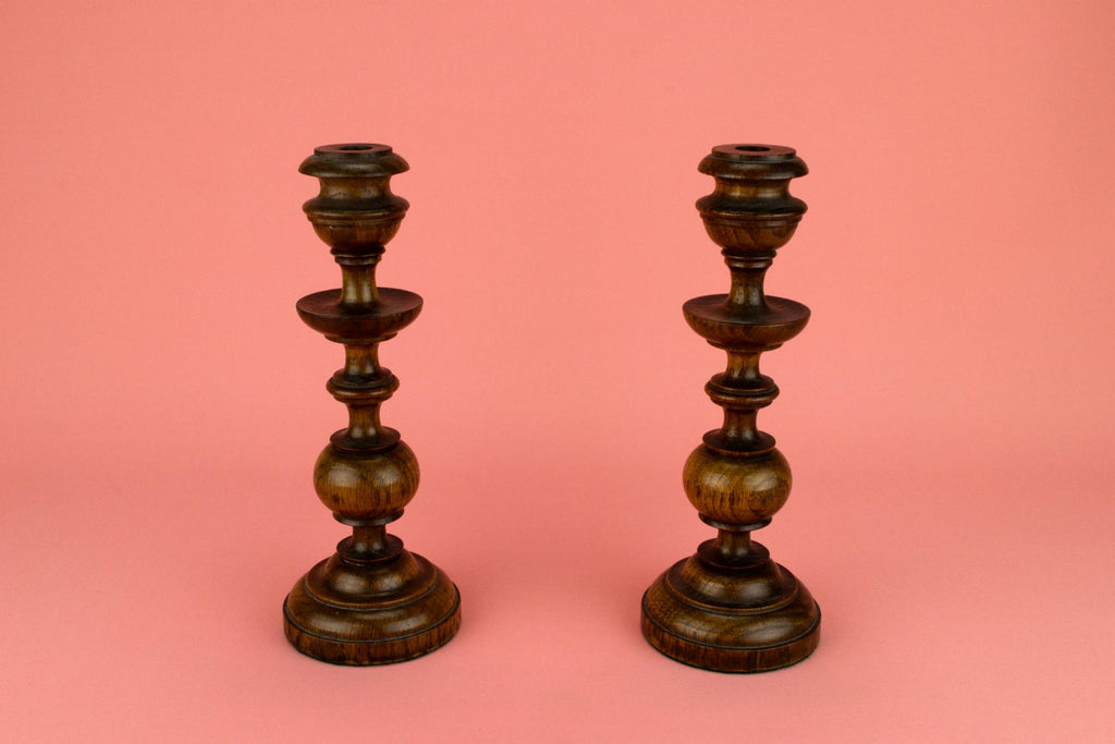 Turned Oak Candlesticks, English 1830s