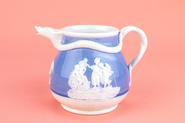 Blue and White Glass Milk Jug, English 19th Century