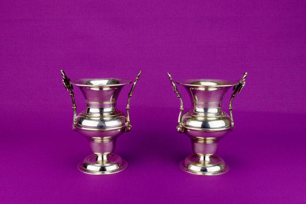 2 Silver Plated Small Table Vases, English 19th Century