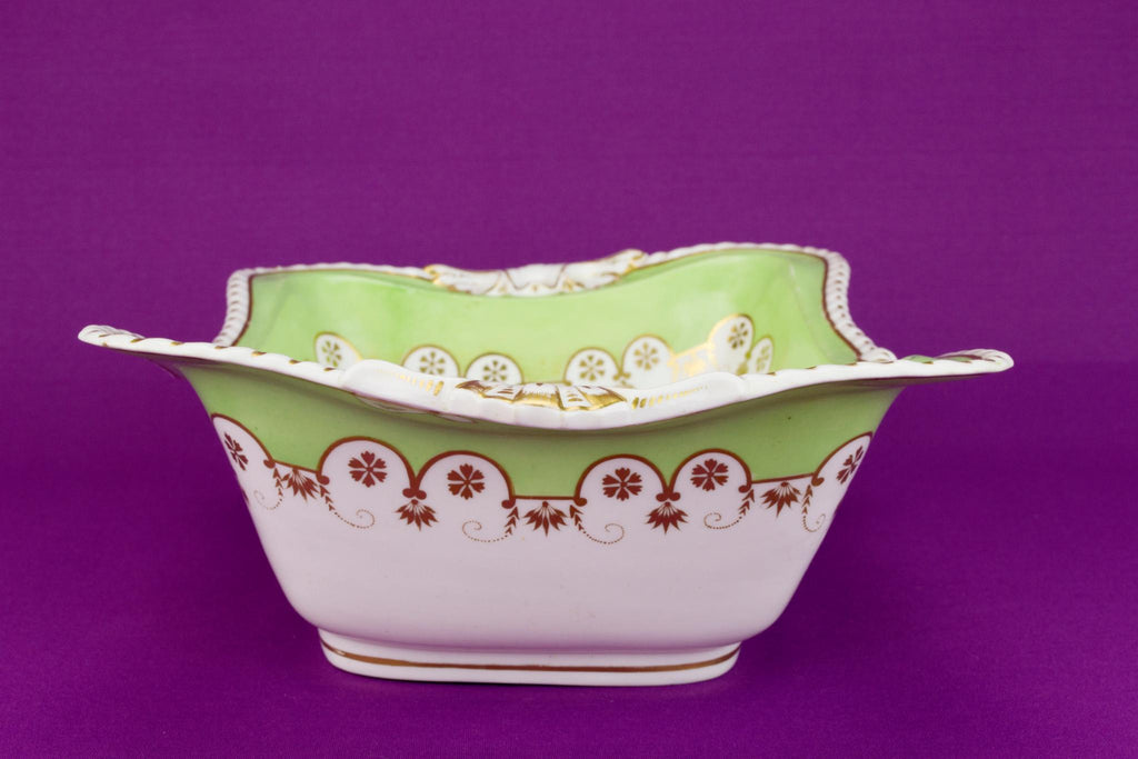 Apple Green Serving Bowl by Bloor Derby, English 1830s