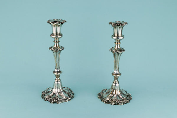 Silver Plated Candlesticks, English 19th Century