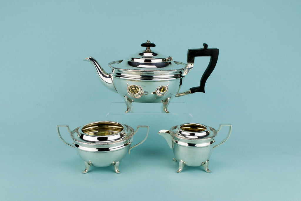Silver Plated & Gilded Tea Set, English Early 1900s