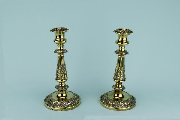 Georgian Brass Candlesticks, English Early 1800s