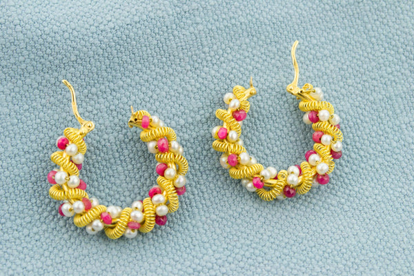 Ruby and Pearl Earrings in 18ct Gold