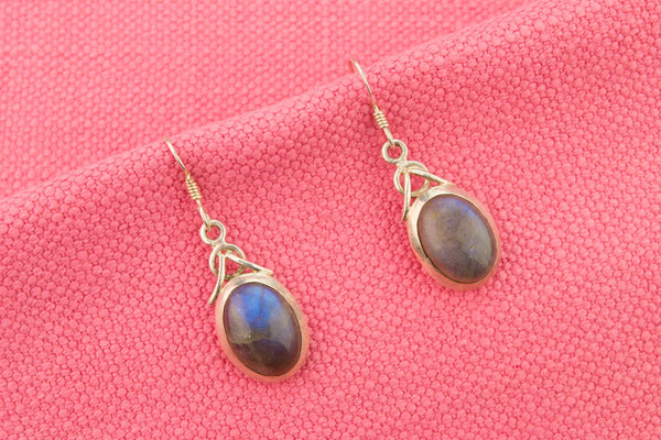 Cabochon Drop Earrings in Sterling Silver