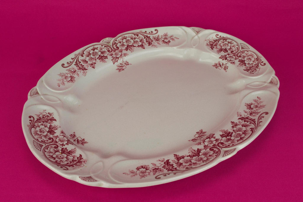 Red and White Serving Platter, English 1890s