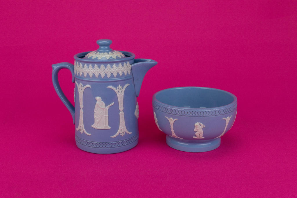 Milk and Sugar Set in Blue and White, English Circa 1900