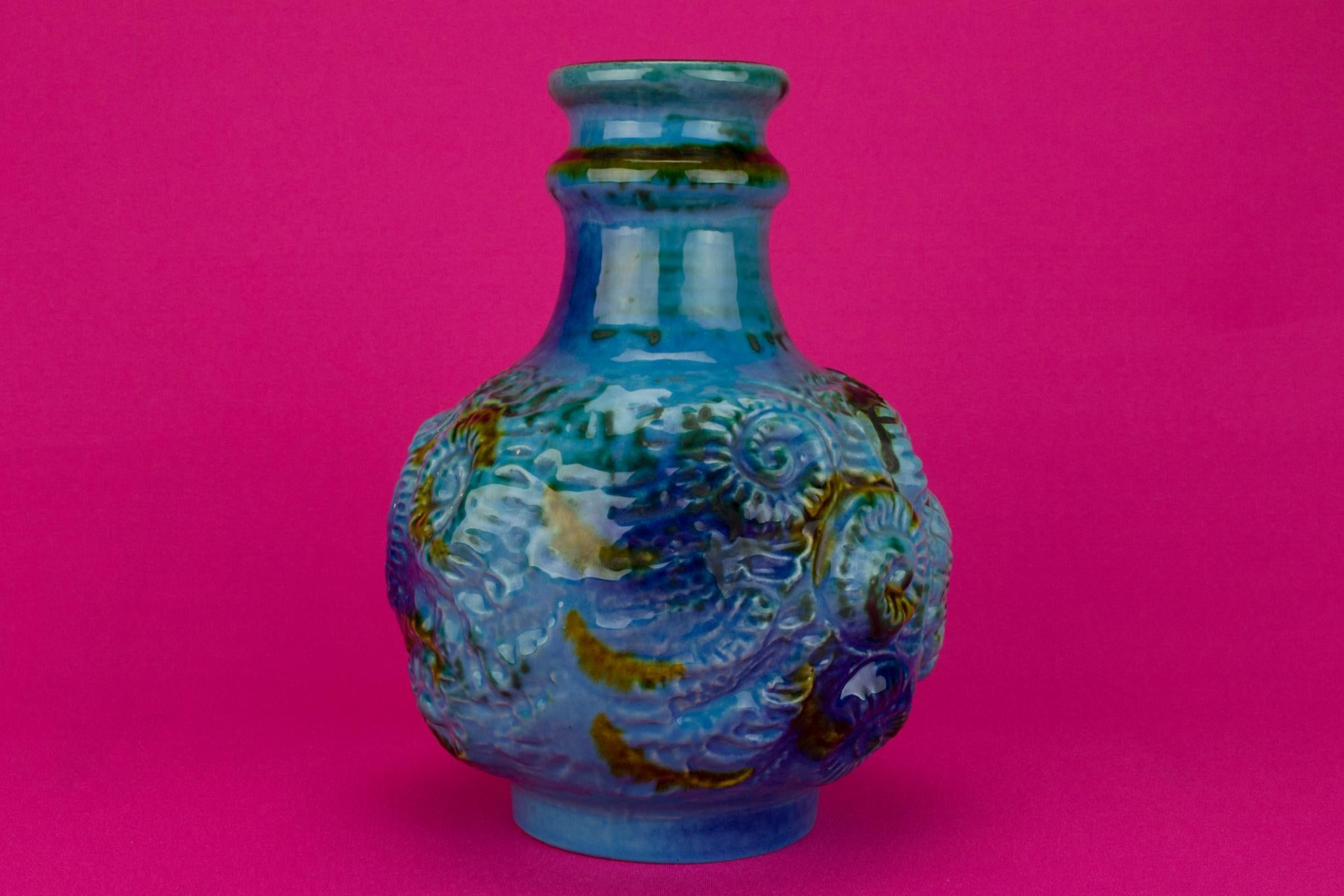 Blue Lava Vase by Carstens, German Circa 1970