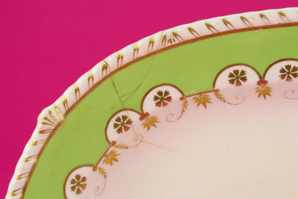 Serving Platter in Green by Bloor Derby, English 1830s
