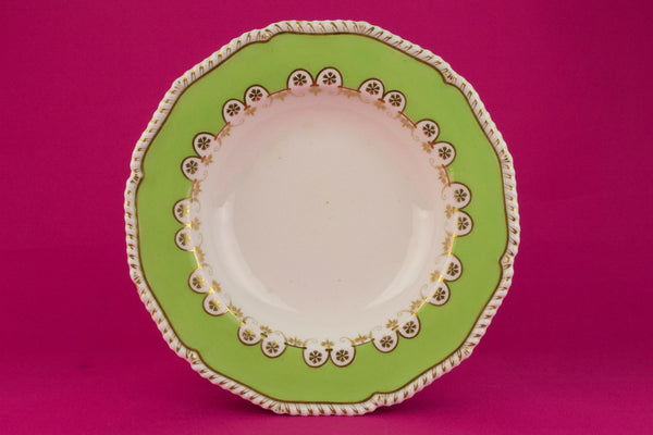 6 Green Dinner Bowls by Bloor Derby, English 1830s