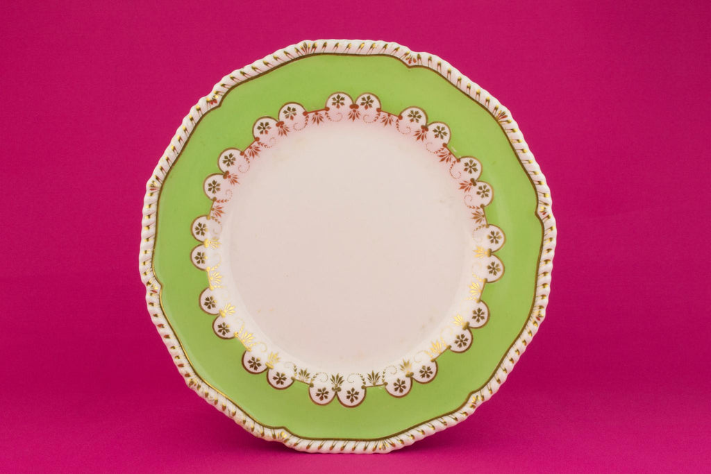 6 Bloor Derby Dinner Plates in Green, English 1830s