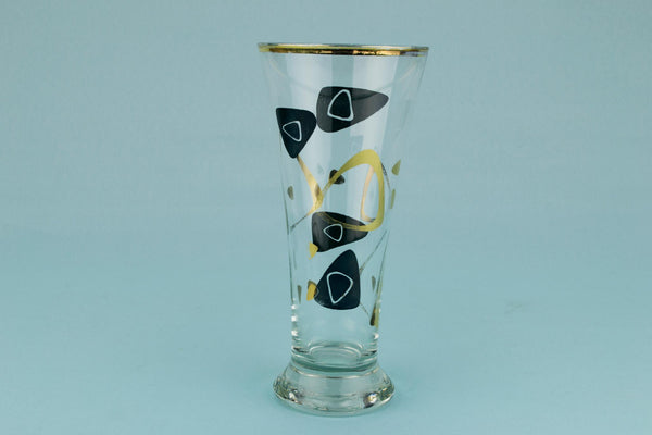 2 Gilded Beer Glasses, English 1960s