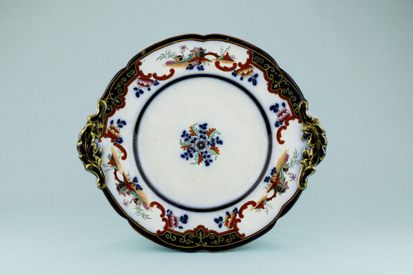 Large Serving Dish in Flow Blue, English 19th Century