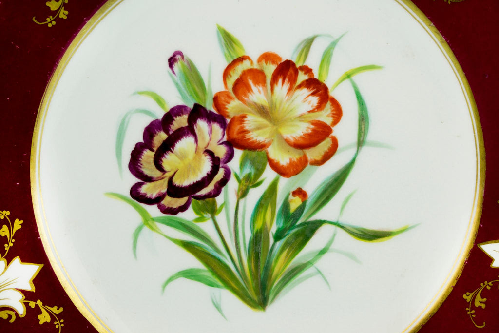 5 Dessert Plates Painted Flowers, English 19th Century