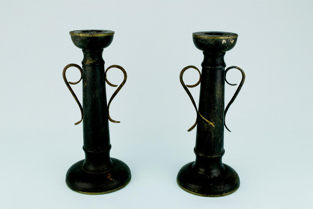 Rustic Black Candlesticks in Wood and Metal