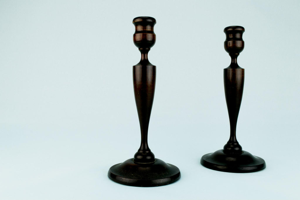 Mahogany Arts & Crafts Candlesticks, English Circa 1900