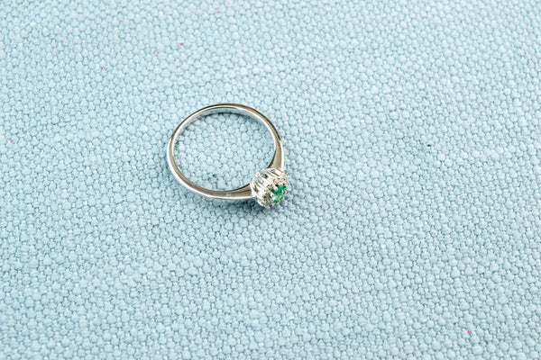 Cluster Ring 18ct Gold Emerald and Diamonds