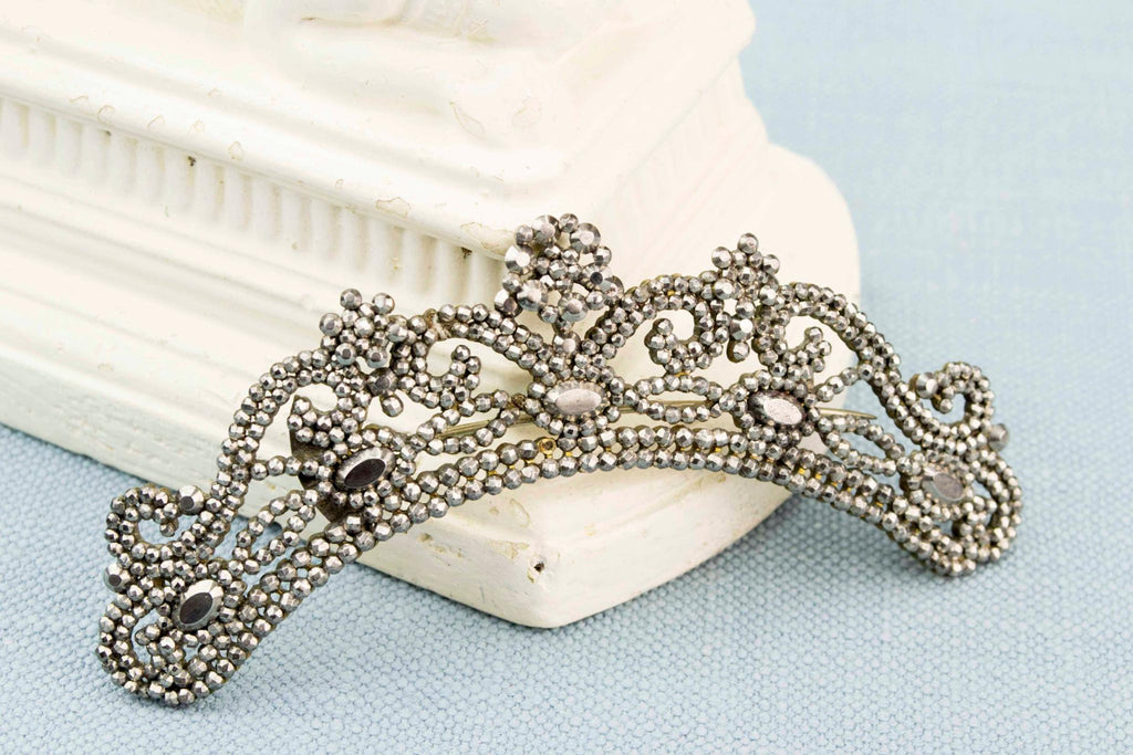 Regency Cut Steel Tiara or Brooch, English Circa 1820