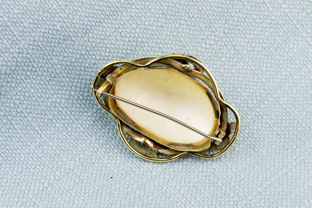 Shell Brooch in Gilded Setting, English 1870s
