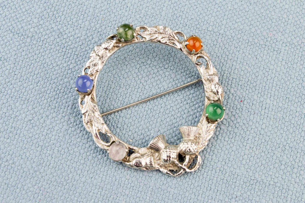 Scottish Brooch in Sterling Silver and Agate 1957