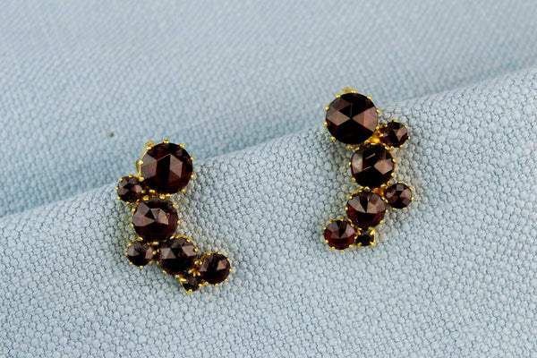 Garnet Clip Earrings, English 1950s