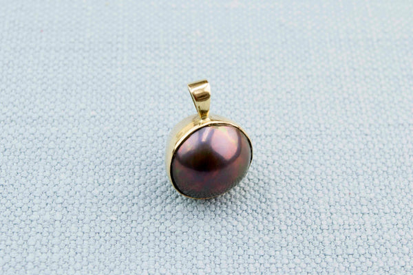 Gold and Black Pearl Pendant 1980s