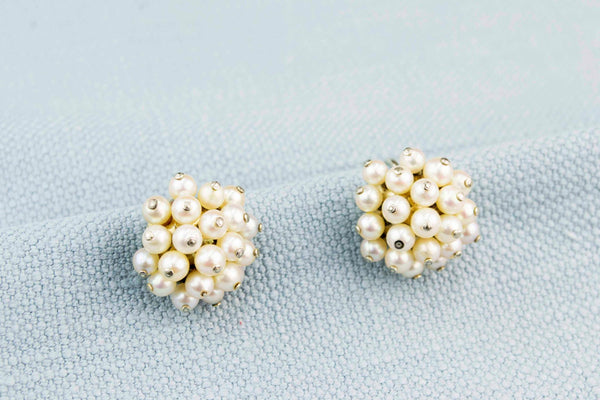 Earrings 18ct Gold and Pearls, French 1930s