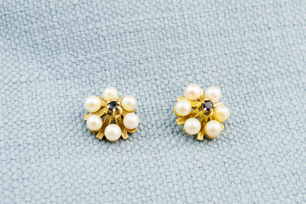Sapphire & Pearl Earrings in 9ct Gold, English 1980s