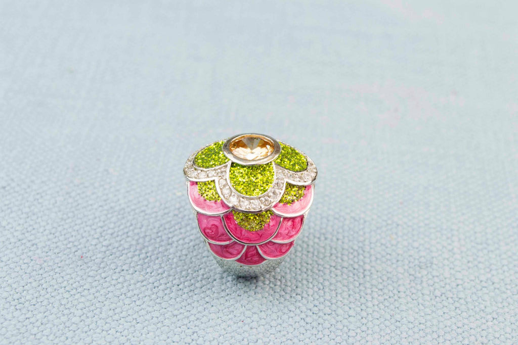 Citrine and Pink Enamel Ring in Sterling Silver