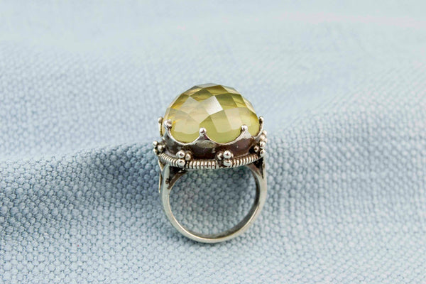 Lemon Citrine Crown Ring in Sterling Silver