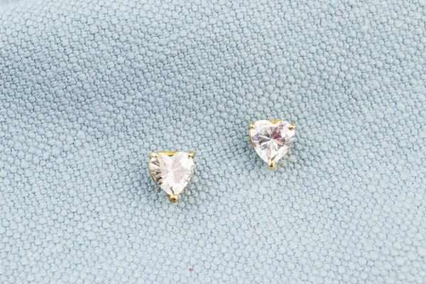 Stud Earrings in 14ct Gold & CZ Hearts
