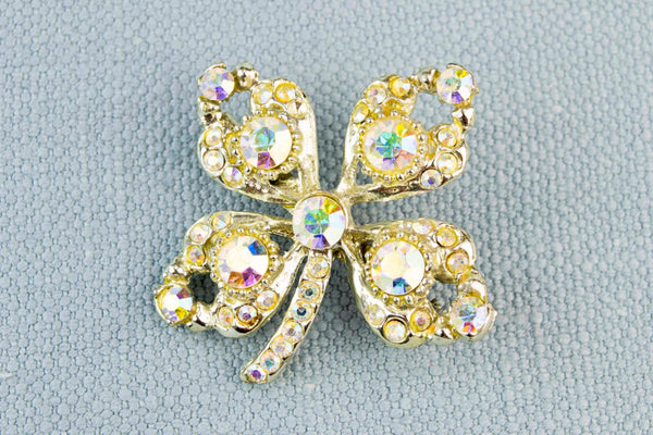Sparkling Clover Brooch, English 1950s