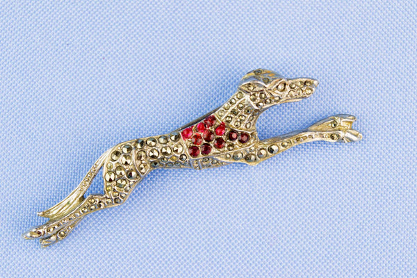 Greyhound Brooch with Garnets, English 1950s