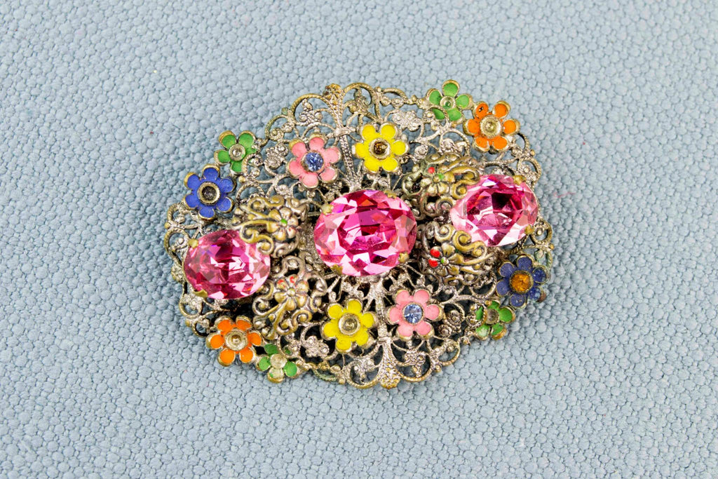 Art Deco Floral Brooch, English 1920s