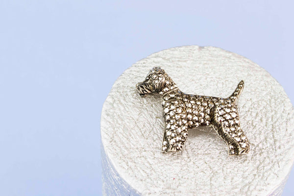 Marcasite Terrier Dog Brooch, English 1940s