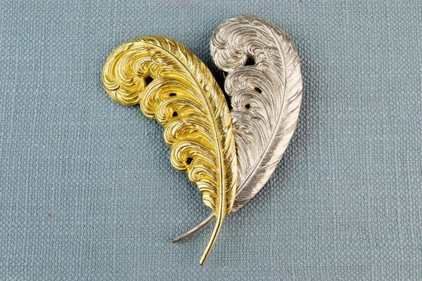 Large Brooch Two Feathers, English 1950s
