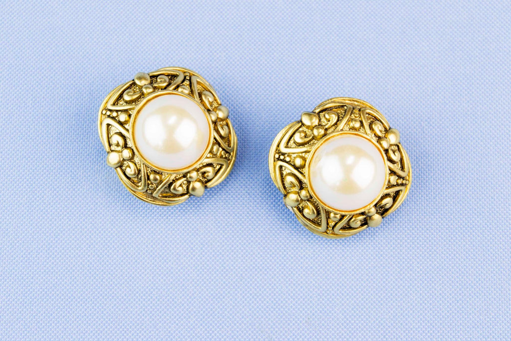 Bold Design Clip Earrings Gold and Pearl