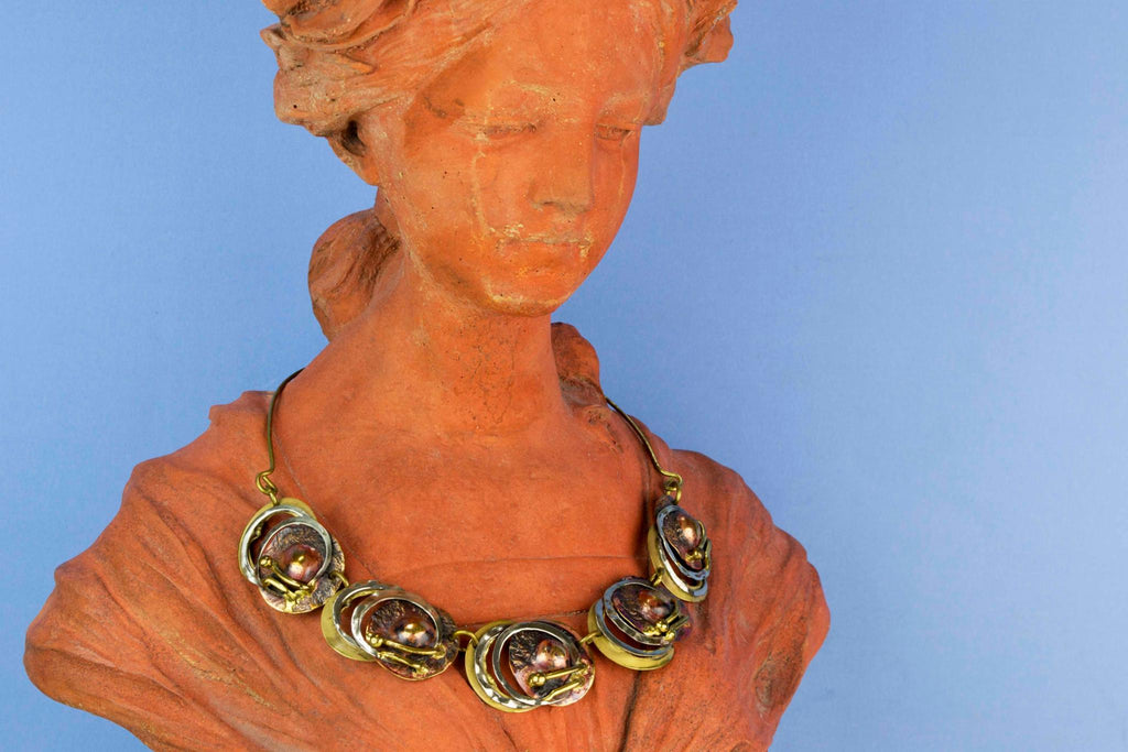 1960s Necklace in Silver Copper and Brass