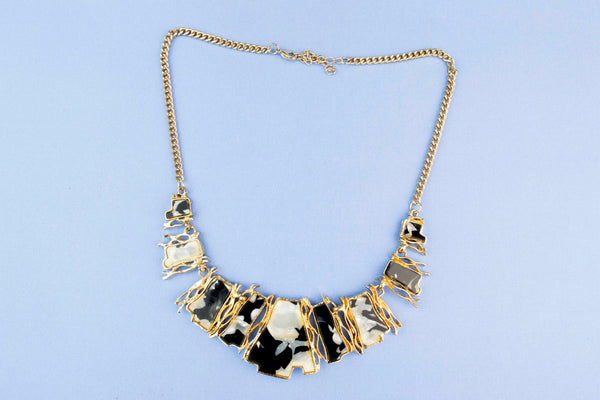 Gold Coloured and Perspex Necklace