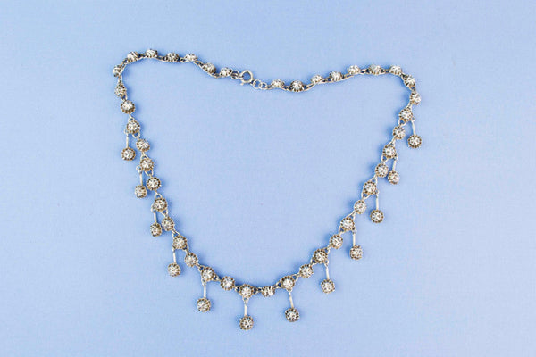 1870s Sterling Silver Necklace Diamond Effect French