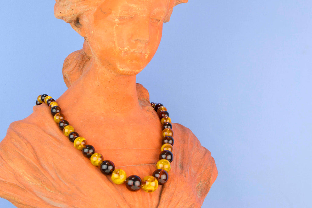 Graduated Amber Bead Necklace Art Deco 1920s
