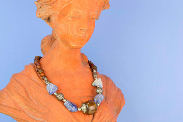 Horn and Lapis Lazuli Bead Necklace