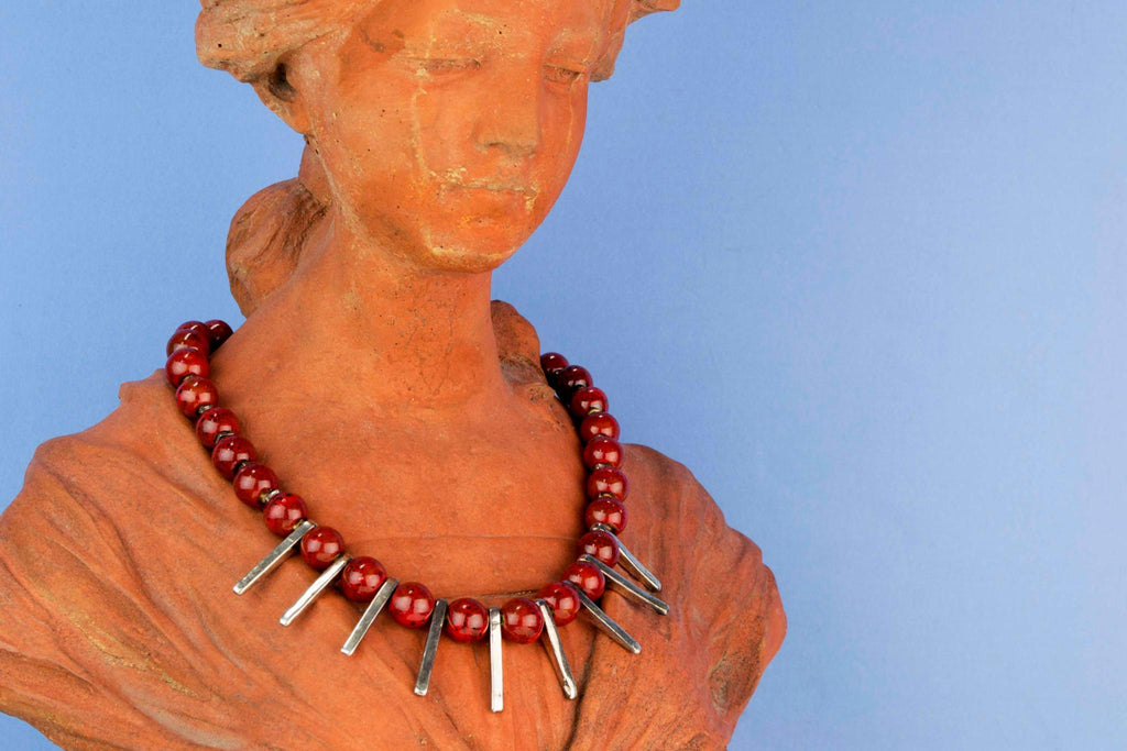 Red Ceramic Beads Necklace