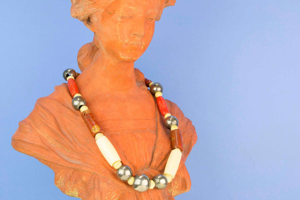 Coral Bone and Ivory Necklace